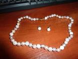 Серьги и ожерелье из натурального жемчуга с золотыми застежками, фото №3