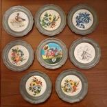 Оловянные декоративные тарелочки 8 шт.