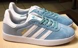 0140 Кроссовки Adidas Gazelle Натуральная замша, Голубые 40 размер. 25 см стелька