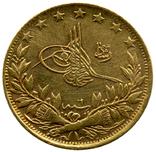 100 Пиастр 1327 (6год) / 1909-1917гг. Турция. Проба 916 photo 1