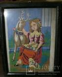 Картина.Девушка и олененок., фото №2
