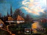 """Старая картина """"Сельский пейзаж"""" Поляков, фото №3"""