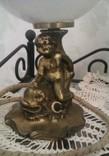 Лампа старинная с Путти на рыбе, бронза. Светильник. Европа, сер. ХIХ в