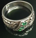 Кольцо, зеленые камни, фото №2