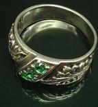 Кольцо, зеленые камни, фото №3