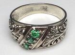 Кольцо, зеленые камни, фото №5