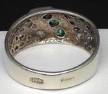 Кольцо, зеленые камни, фото №6
