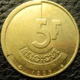 5 франків Бельгія 1986 Belgique, фото №2