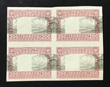 1920. Стандартный выпуск. Квартблок. Проба. 200 гривен