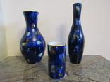 Коллекция ваз фарфор Echt Kobalt клеймо Wallendorf Валлендорф Германия
