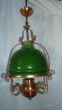 Люстра старинная. Лампа подвесная старая. Медная. Плафон зеленое стекло.