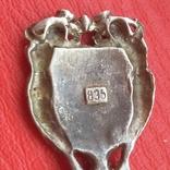 Ложка 835 пробы с эмалевым щитом., фото №8