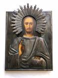 Икона в серебряном окладе «Господь Вседержитель». 24 на 19 см.