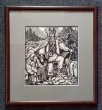 """О. Кульчицька, """"Довбуш - опікун бідних"""", 1935г. ліногравюра. Е. Кульчицкая, линогравюра."""