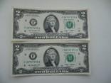 2 доллари 2009 року.дві банкноти номера послідовні