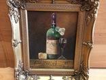 Картина бокал с бутылкой вина,