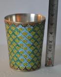 Серебряный стаканчик с эмалями 875 пробы photo 4