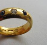 Кольцо, Россия, золото 13,59 грамм 92`(958`) бриллиант, сапфиры photo 2