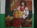 Картина соцреализм крестьянка с гарбузом 110х110см холст масло 1960-70?