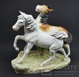 Довоенная фарфоровая композиция пары лошадей Thuringia Висота: 30 см