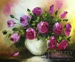 Картина «Розовое очарование» масло мастихин