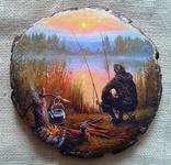 """Картинки на срезе дерева """" Рыбацкий ужин"""""""