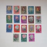 «Хризантемы», Почтовая марки, Китай, 1960 г. № 210-227
