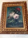 Довоенная картина Пионы. авторская. 58 Х48. рама Италия.