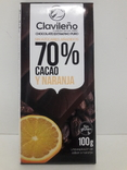 Шоколад Черный CLAVILENO апельсин 70% сасао , без сахара 100г