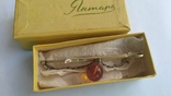 Зажим для галстука из серебра с янтарём 875 позолота, фото №10