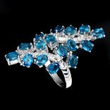 Кольцо 925 натуральный ААА голубой апатит. photo 2
