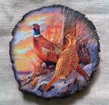 """Картинки на срезе дерева """"Пара фазанов"""" photo 1"""
