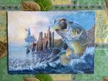 """Картина для любителей рыбалки """"Рыба в прыжке"""" Холст масло."""