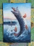 """Картина для любителей рыбалки """"Щука в прыжке"""" Холст масло."""
