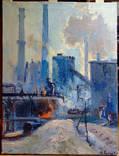 Индустриальный пейзаж, Поляков А.И. соцреализм СССР, 1972, Холст Масло