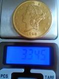 20$ США 1898 року, золото 900 проба. photo 2