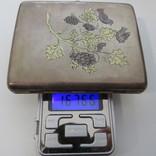 Портсигар серебро, позолота 167,66 грамм 84`