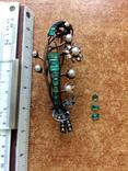 Брошь ветка 583 ЛЮТ с бриллиантами, изумрудами и жемчугом