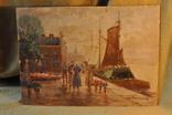 """Старинная картина """" Продажа тюльпанов """". Голландия. Подпись."""