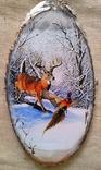 "Картинки на срезе дерева ""По первому снежку"""