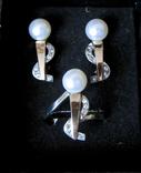 Серьги и кольцо Серебро 875 пр.Золото 375 пр.Жемчуг и фианиты.Украина, фото №2