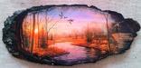 """Картинки на срезе дерева """"Вечерний лес"""""""