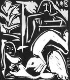 Володимир Лобода.Художник і модель. 1981 р. Лінорит. 27,2х23,4; лист 33,9х26,5 photo 5