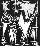 Володимир Лобода.Художник і модель. 1981 р. Лінорит. 27,2х23,4; лист 33,9х26,5 photo 6