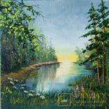 """Лот 1, серия """"Лесные пейзажи"""", худ.Высочинская Т.Г., 15х15 см, масло"""