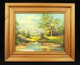 Лесной пейзаж. Hans Kirbs. Масло. Подпись автора. Европа. (0281)