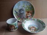 Набор детской посуды из 3х предметов.фарфор.Детская посуда