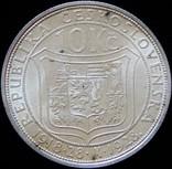 10 крон 1928 року. Чехословаччина, «Масарик», срібло10 г photo 1
