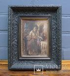 """Старинная картина в рамке """"Украиночка с зеркальцем"""" подписная. photo 1"""