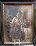 """Старинная картина в рамке """"Украиночка с зеркальцем"""" подписная. photo 2"""